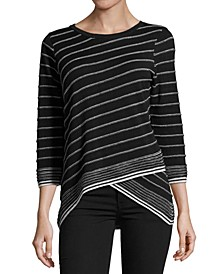 Striped Crossover-Hem Sweater