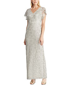 Metallic-Lace Evening Gown