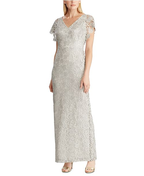 Lauren Ralph Lauren Metallic-Lace Evening Gown