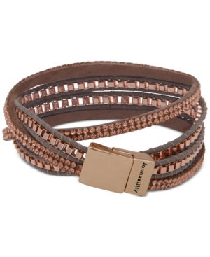 Gold-Tone Crystal Leather Wrap Bracelet