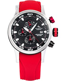 Men's Speedboat Red Silicone Performance Timepiece Watch 46mm