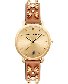 Women's Billie Almond Studded Leather Strap Watch 34mm
