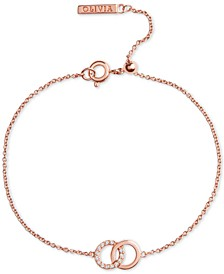 Swarovski Crystal Interlocking Ring Adjustable Link Bracelet