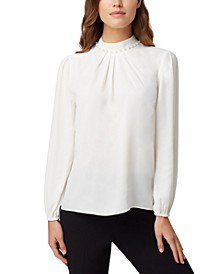 Faux-Pearl Pleat-Neck Blouse