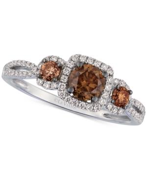 Chocolate Diamond & Vanilla Diamonds Statement Ring (7/8 ct. t.w.) in 14k White Gold