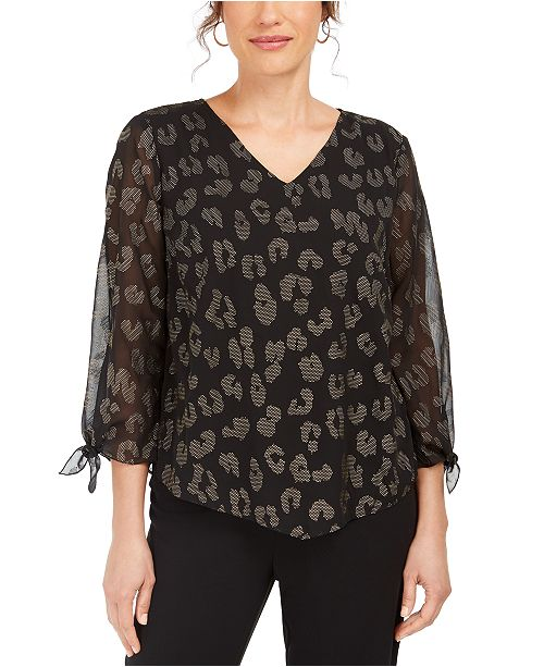 JM Collection Animal-Print Gel-Dot Top, Created For Macy's
