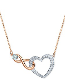 "Two-Tone Crystal Heart & Infinity Symbol Pendant Necklace, 14-7/8"" + 2"" extender"
