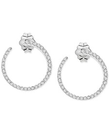 Diamond Small Front & Back Hoop Earrings (1/4 ct. t.w.) in 10k White Gold, .58""