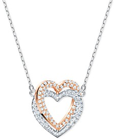"Two-Tone Crystal Double Heart Pendant Necklace, 14-7/8"" + 2"" extender"