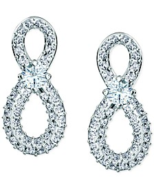 Silver-Tone Crystal Infinity Stud Earrings