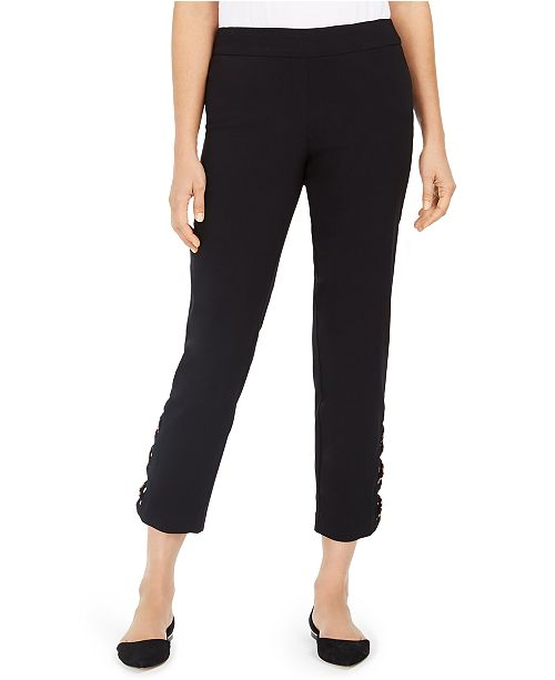 JM Collection Tummy-Control Leopard Ladder-Hem Ankle Pants, Created For Macy's