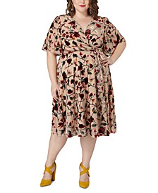 Plus Size Burnout Velvet Floral-Print Wrap Dress