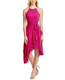 Cascading Ruffle Halter Dress