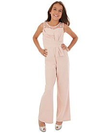 Big Girls Polka-Dot Illusion Jumpsuit