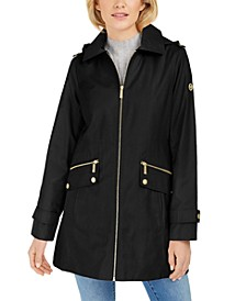 Petite Water-Resistant Hooded Raincoat