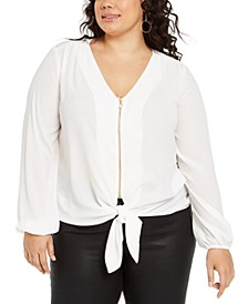 Plus Size Pebble Crepe Tie-Front Top