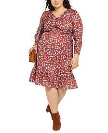 NY Collection Plus Size Printed Smocked-Sleeve Midi Dress