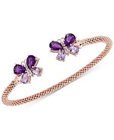 Amethyst (2-3/8 ct. t.w.) & White Zircon (1/4 ct. t.w.) Butterfly Mesh Cuff Bracelet (2-3/8 ct. t.w.) in 14k Rose Gold-Plated Sterling Silver (Also in Blue Topaz)