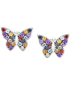 Multi-Gemstone Butterfly Stud Earrings (7/8 ct. t.w.) in Sterling Silver