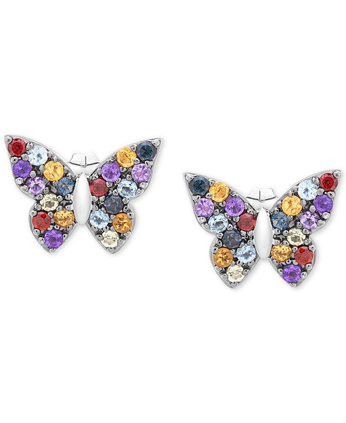 Macy's - Multi-Gemstone Butterfly Stud Earrings (7/8 ct. t.w.) in Sterling Silver