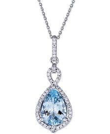 "Aquamarine (3 ct. t.w.) & Diamond (1/4 ct. t.w.) Pendant Necklace in 14k White Gold, 16"" + 2"" extender"
