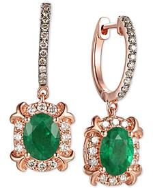 Costa Smeralda Emerald (1-5/8 ct. t.w.) & Diamond (5/8 ct. t.w.) Drop Earrings in 14k Rose Gold