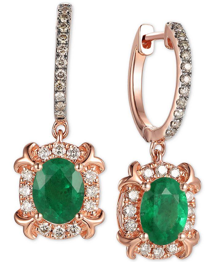 Le Vian - Costa Smeralda Emerald (1-5/8 ct. t.w.) & Diamond (5/8 ct. t.w.) Drop Earrings in 14k Rose Gold