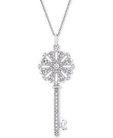 """Diamond Key 18"""" Pendant Necklace (1/10 ct. t.w.) in Sterling Silver"""
