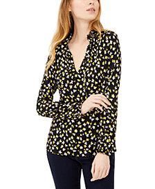 Michael Michael Kors Floral-Print Shirred Tie-Neck Top