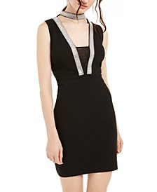 Juniors' Embellished Choker Bodycon Dress