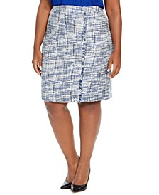 Plus Size Tweed Fringe-Trim Pencil Skirt