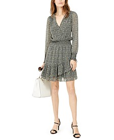 Floral-Print Faux-Wrap Dress, Regular & Petite