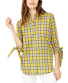 Petite Cotton Plaid Tie-Sleeve Shirt