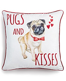 "Pugs And Kisses 20"" x 20"" Decorative Pillow"