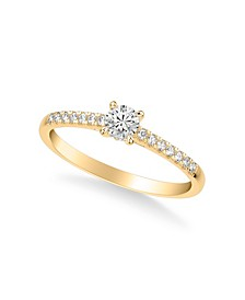 Diamond Engagement Ring (3/8 ct. t.w.) in 14k Rose, White and Yellow Gold