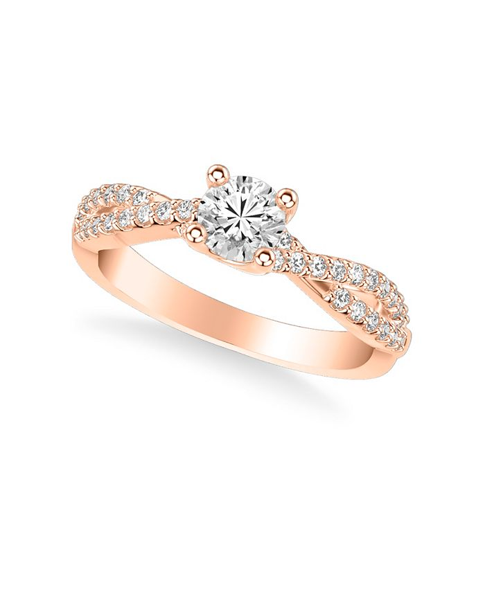 Macy's - Diamond Twist Engagement Ring (5/8 ct. t.w.) in 14k Rose, Yellow or White Gold