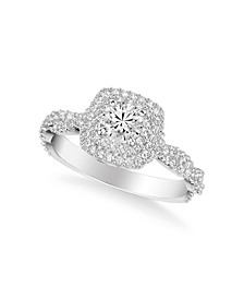 Diamond Halo Engagement Ring (7/8 ct. t.w.) in 14k White, Rose or Yellow Gold