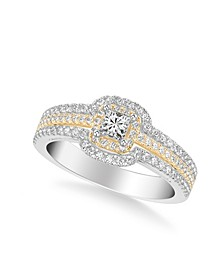 Diamond Princess Engagement Ring (3/4 ct. t.w.) in 14k Two Tone White & Yellow Gold or White & Rose Gold