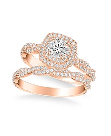 Diamond Halo Bridal Set (1 1/4 ct. t.w.) in 14k White, Yellow or Rose Gold