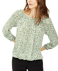 Floral-Print Peasant Top, Regular & Petite