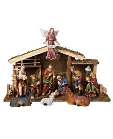 12-Piece Nativity Set with Wooden Stable