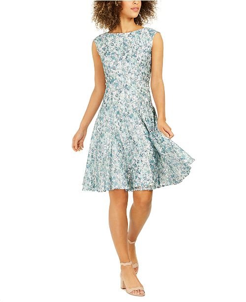 NY Collection Petite Floral-Lace A-Line Dress
