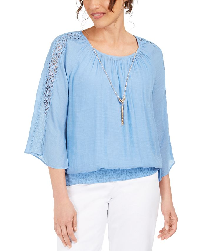JM Collection - Textured Crochet-Sleeve Necklace Top