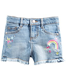 Little Girls Rainbow & Stars Denim Shorts, Created For Macy's
