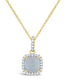 Created Opal (3/4 ct. t.w.) and Created White Sapphire (1/6 ct. t.w.) Pendant Necklace in 10k Yellow Gold