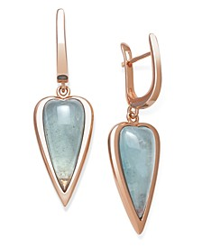 Milky Aquamarine Drop Earrings in Rose Gold over Silver