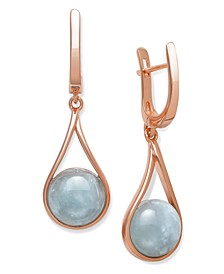 Milky Aquamarine 11x5.3mm Drop Earrings in Rose Gold over Silver