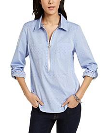 Cotton Colorful Clip-Dot Utility Shirt