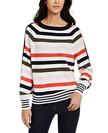 Striped Balloon-Sleeve Sweater