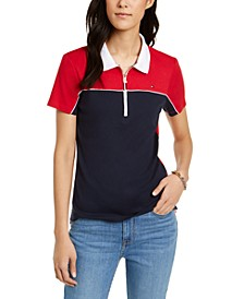 Cotton Colorblocked Zip Polo Shirt